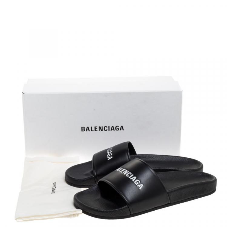 Balenciaga Black Leather Pool Flat Slides Size 42