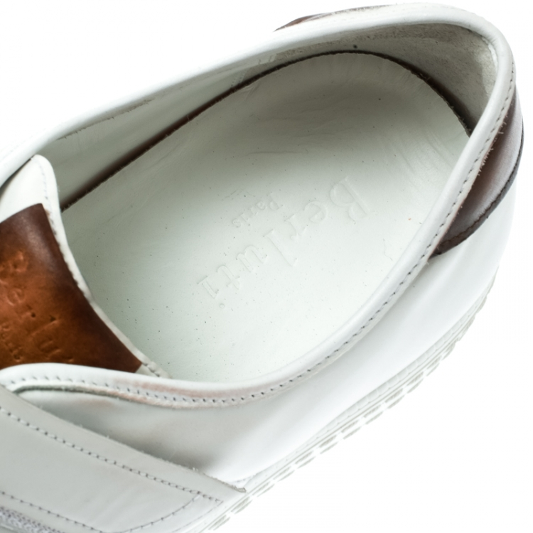 Berluti White Leather Playfield  Velcro Sneakers Size 43.5