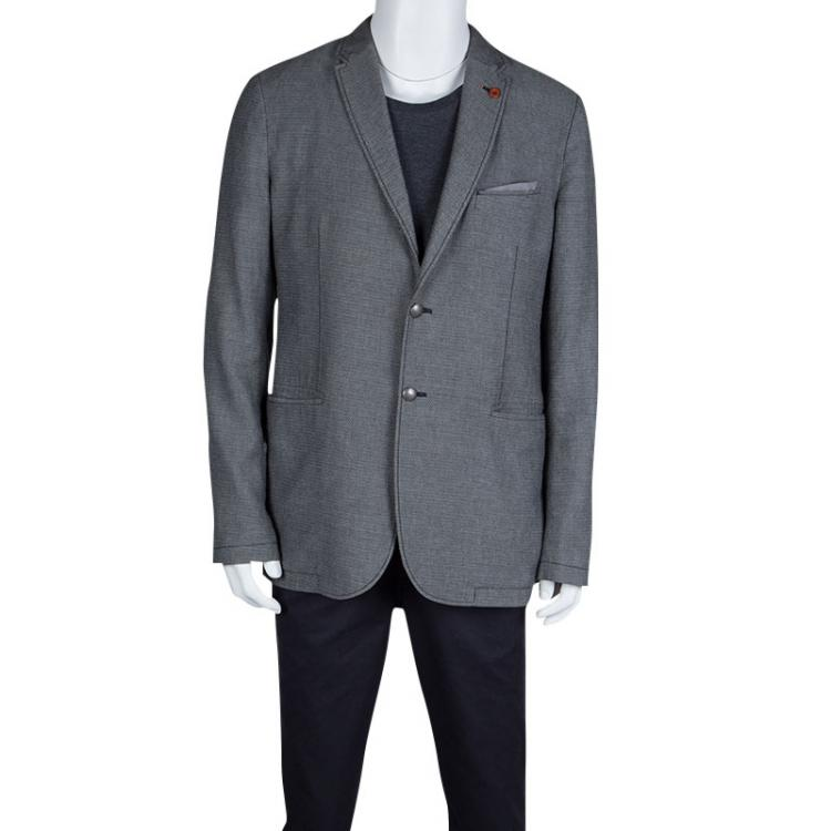 Boss Orange By Hugo Boss Grey and Black Cotton Patterned Blazer XL