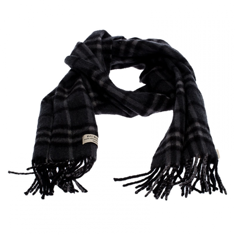 Burberry Charcoal Grey Classic Check Cashmere Stole