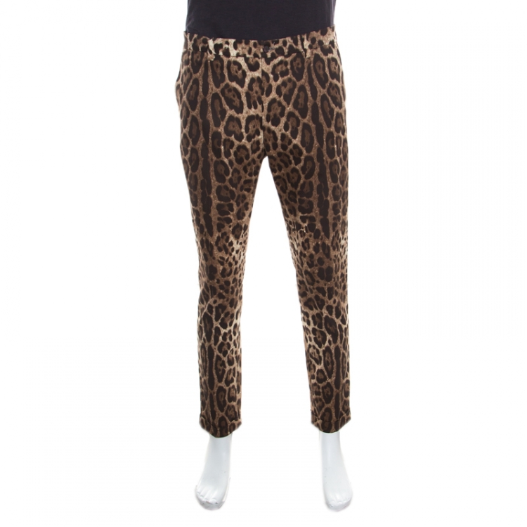 Dolce and Gabbana Brown Leopard Printed Stretch Cotton Tapered Trousers L