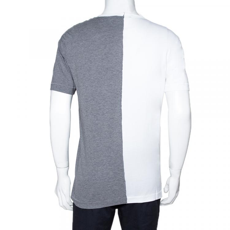 Dolce & Gabbana Two-Tone Print Cotton Jersey T Shirt IT 48