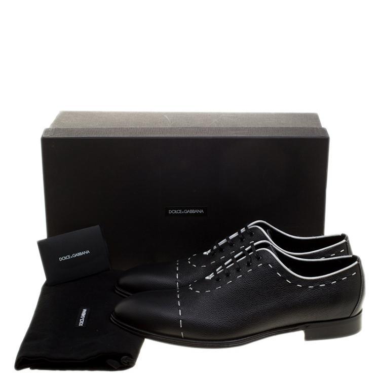 Dolce and Gabbana Black Leather Sicilia Stitch Detail Oxfords Size 44