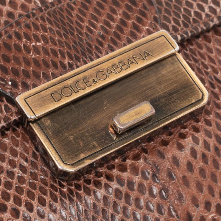 Dolce and Gabbana Brown Python Pochette