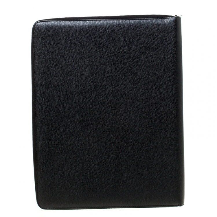 Dolce and Gabbana Black Leather Document Holder