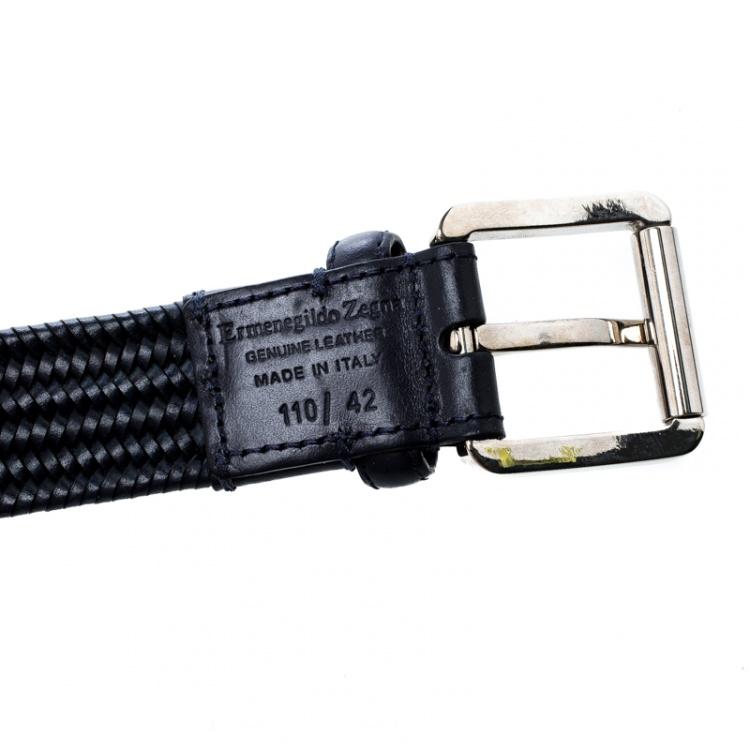 Ermenegildo Zegna Navy Blue Braided Woven Leather Elastic Belt 110 CM