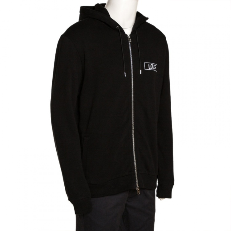 Givenchy Black Cotton Love Embroidered Zip Front Hoodie L