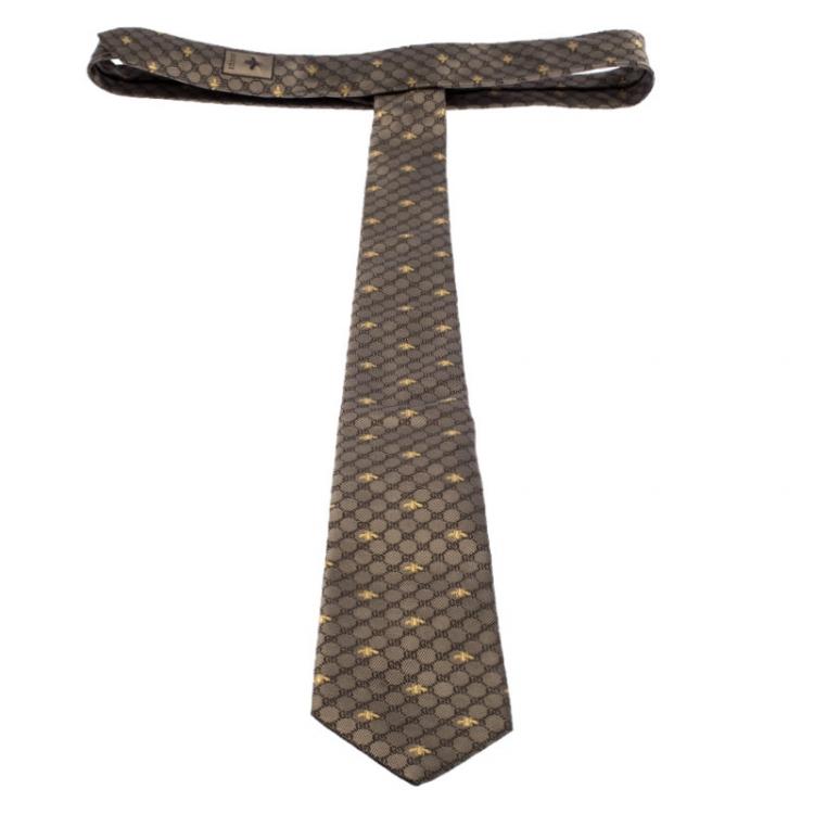 ربطة عنق غوتشي كلاسيك مونوغرام و نحل حرير جاكارد بيج