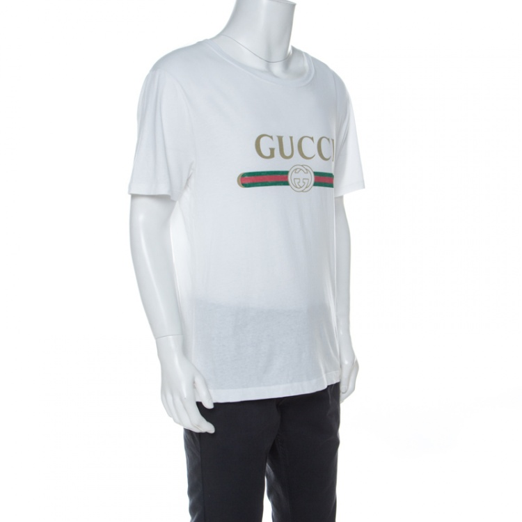 Gucci White Cotton Washed Out Logo Print T-Shirt M