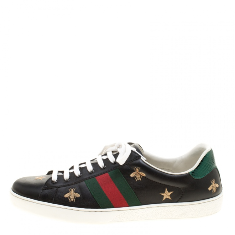Gucci Black Leather Ace Bees and Stars