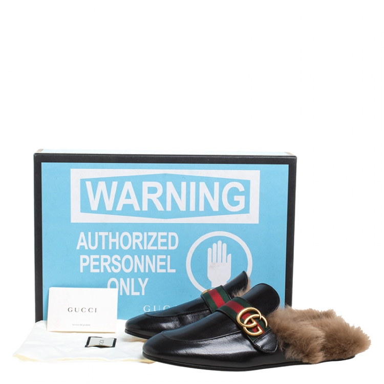 Gucci Black Leather And Fur Princetown Web Gg Marmont Loafer Slides Size 41 Gucci Tlc