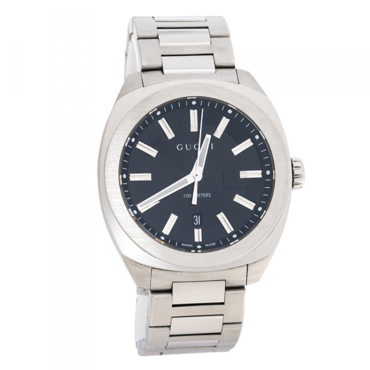 Gucci Black Stainless Steel GG2570 Series 142.3 Men's Wristwatch 40 mm