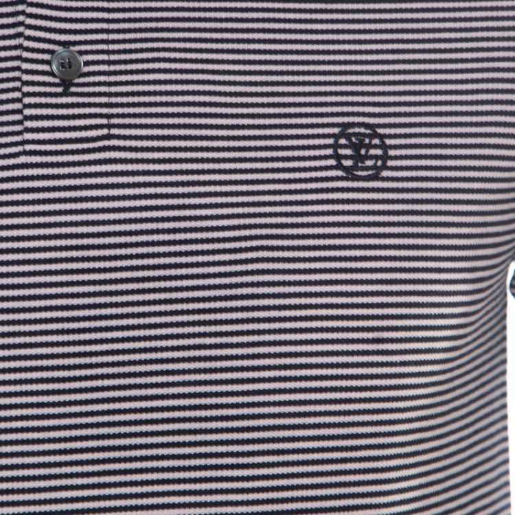 Louis Vuitton Navy Blue and White Horizontal Striped Polo T-Shirt S