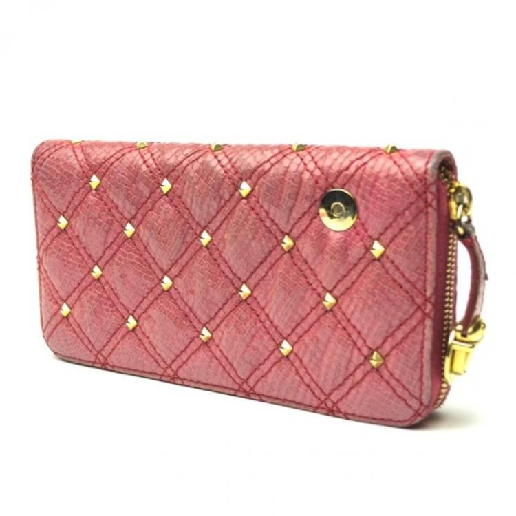 Marc Jacobs Zip Pink Phyton-Effect Leather Wallet