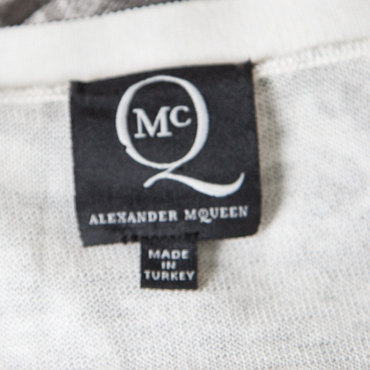 McQ by Alexander McQueen Grey Bleached Fly Printed Cotton Cardigan L