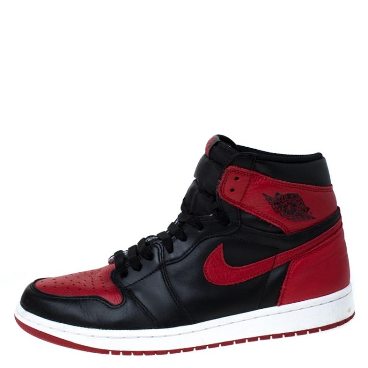 Nike Black And Red Leather Air Jordan 1