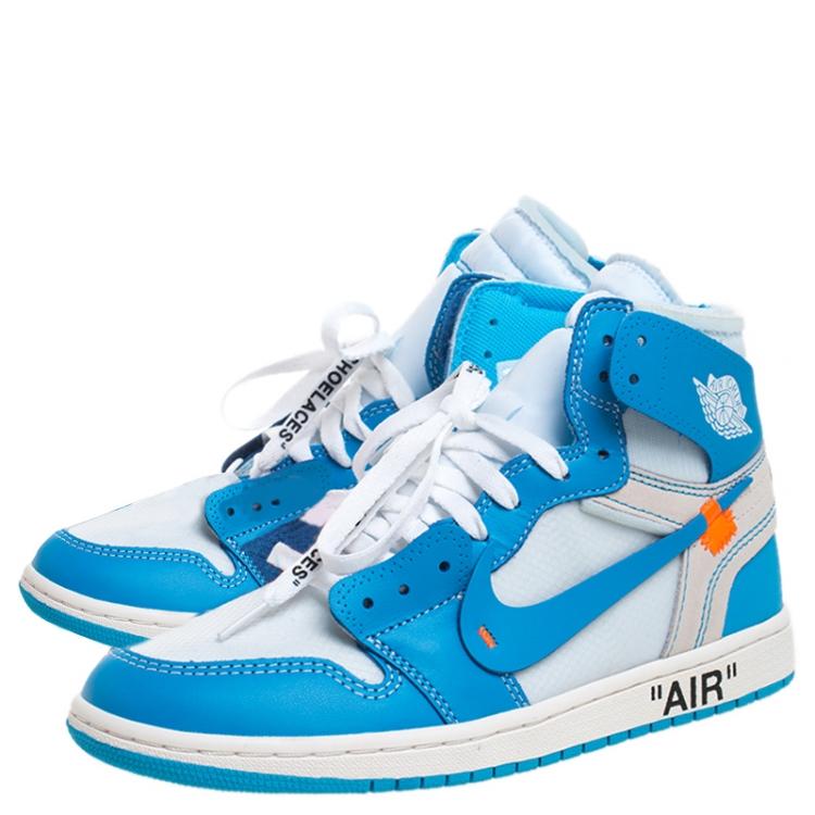Nike x Off White Blue Leather/Mesh Air Jordan 1 Retro High ...