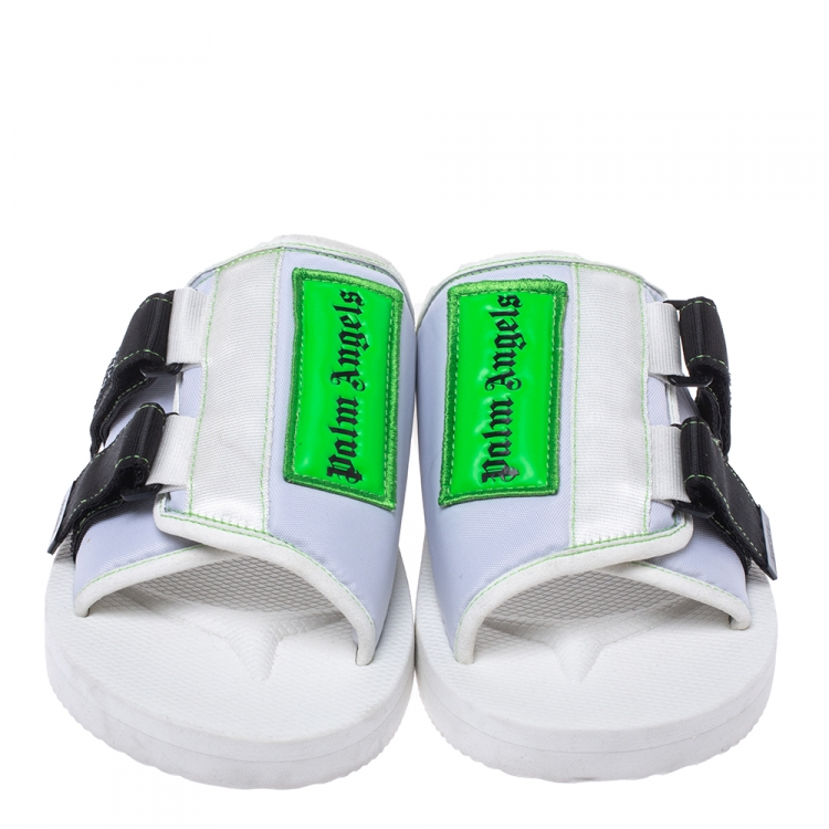 Palm Angels White Fabric Suicoke Flat Sandals Size 42