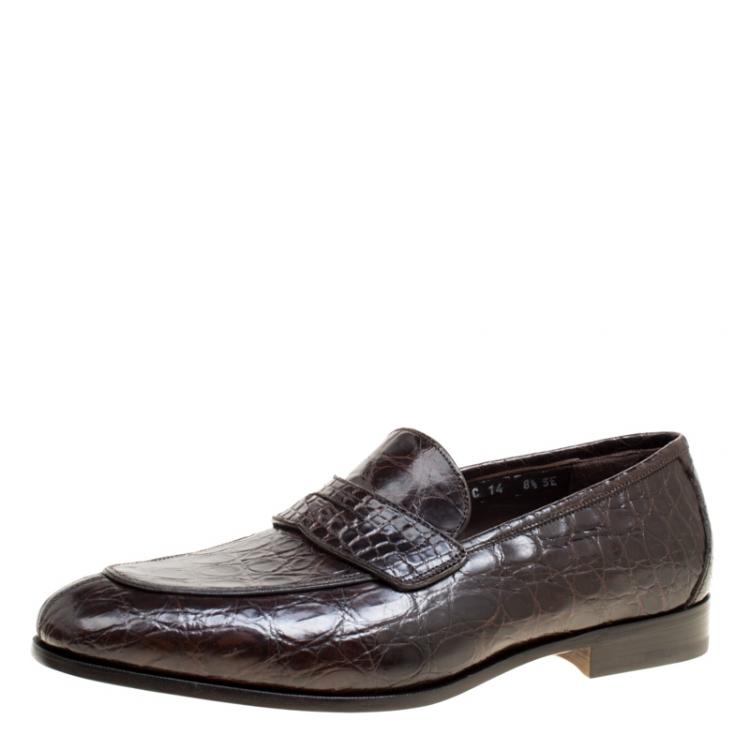 Salvatore Ferragamo Mocca Crocodile Leather Pablo Penny Loafers Size 42 5 Salvatore Ferragamo Tlc