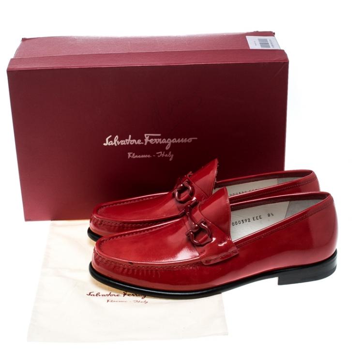 Cadena entregar bolsillo  Salvatore Ferragamo Red Patent Leather Mason Loafers Size 42.5 Salvatore  Ferragamo   TLC