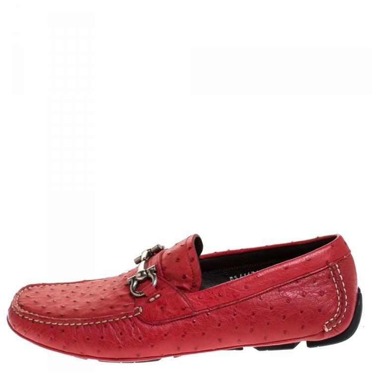 No autorizado Cantidad de dinero patinar  Salvatore Ferragamo Red Ostrich Leather Parigi Driving Loafers Size 43 Salvatore  Ferragamo   TLC