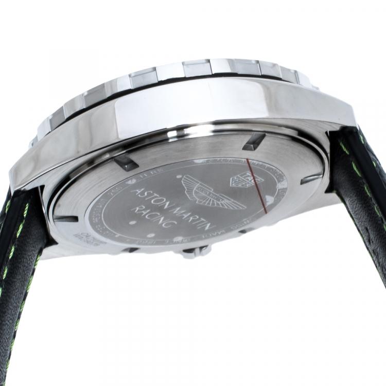 Tag Heuer Black Stainless Steel Formula 1 Aston Martin Chronograph Men's Wristwatch 43 mm