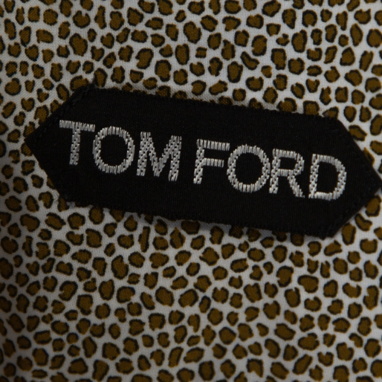 Tom Ford Brown Animal Print Cotton Button Front Shirt XL