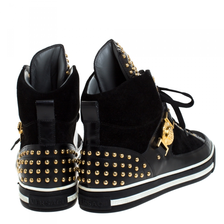 Versace Black Leather And Suede Studded