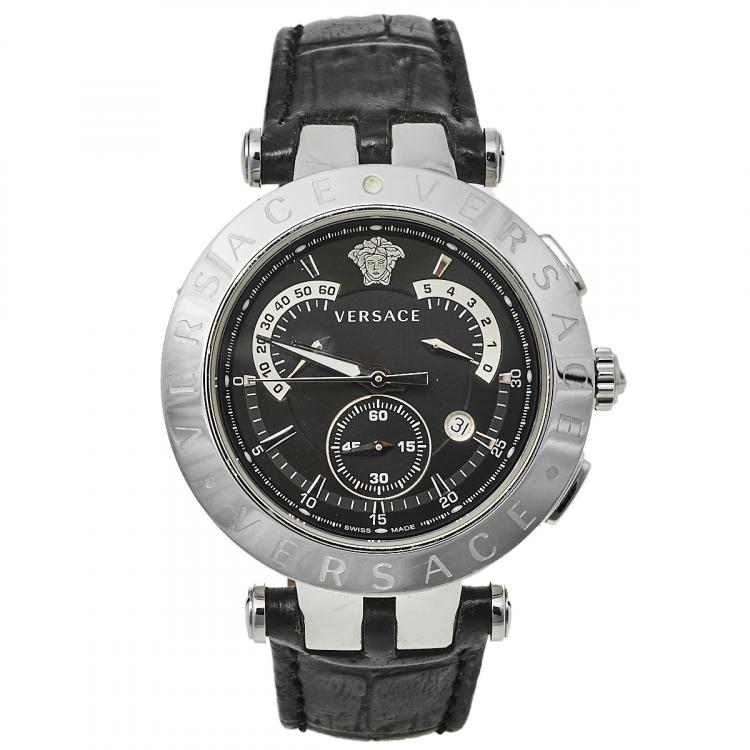 Versace Black Stainless Steel V Race 23C Men's Wristwatch 42 mm