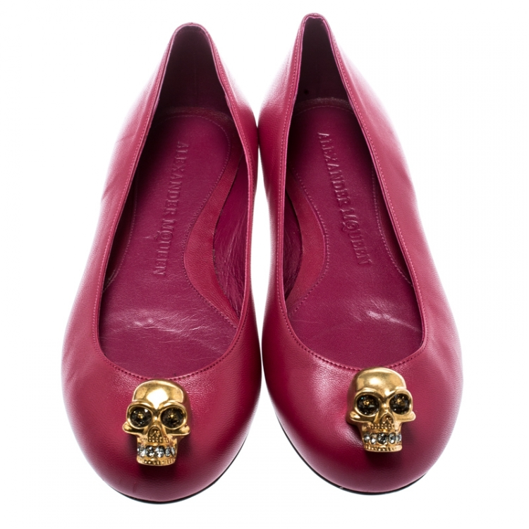 Alexander McQueen Pink Leather Skull City Ballet Flats Size 36