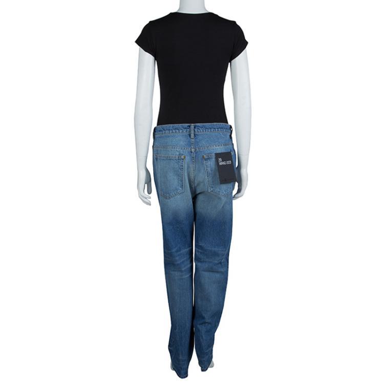 Alexander Wang Indigo Denim Faded Straight Fit Jeans M