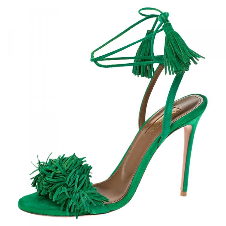 Aquazzura Green Suede Leather Wild