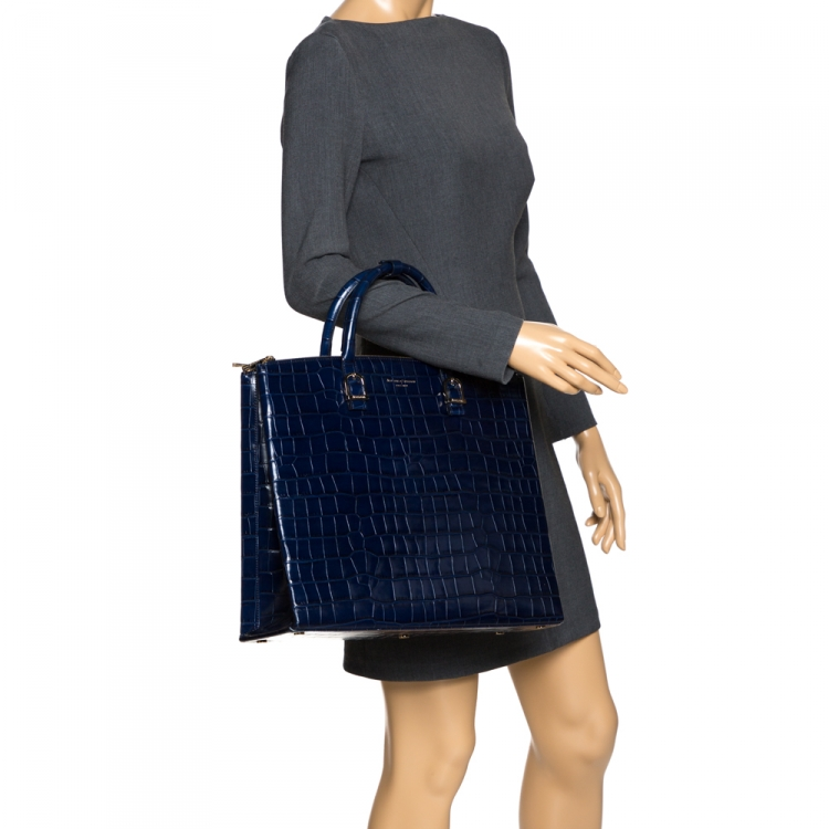 Aspinal Of London Midnight Blue Croc Embossed Leather Madison Tote