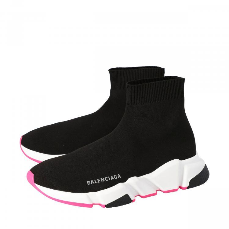 Balenciaga Black/Pink Knit Speed High