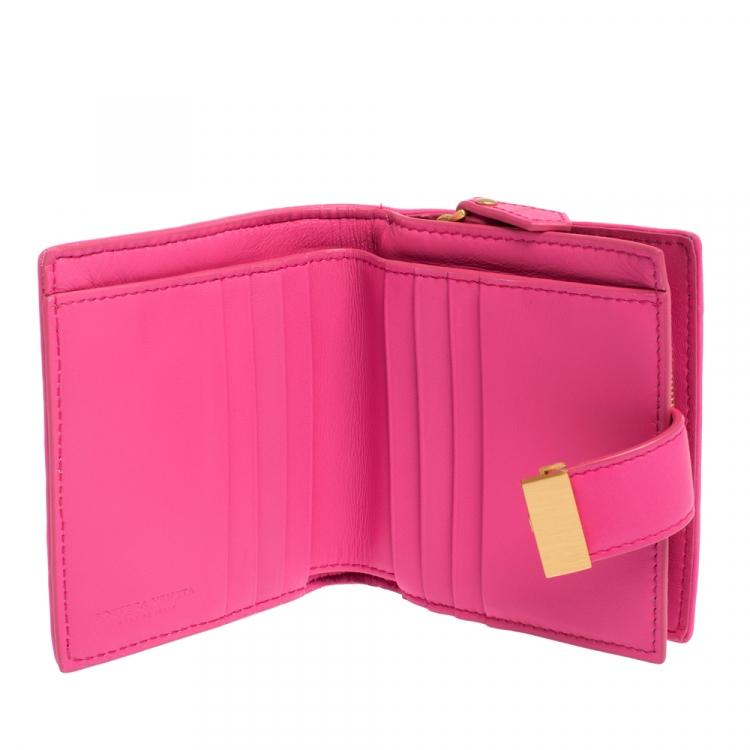 Bottega Veneta Pink Intrecciato Leather French Flap Wallet