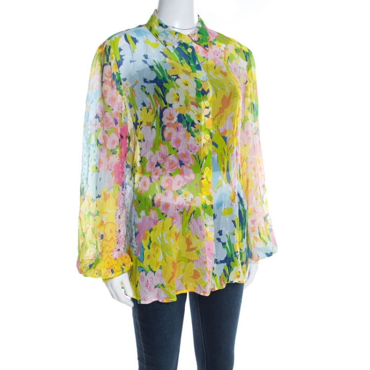 Boutique Moschino Watercolor Floral Printed Sheer Chiffon Shirt L