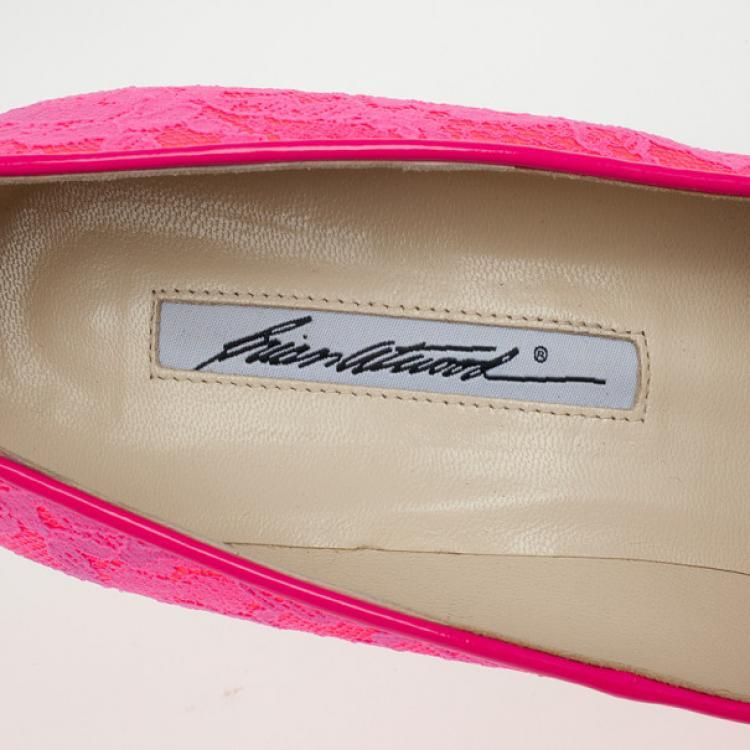 Brian Atwood Fuchsia Lace Maniac Platform Pumps Size 38.5