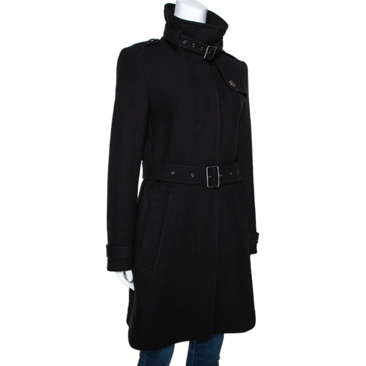Burberry Brit Black Wool Blend Belted Rushworth Coat S
