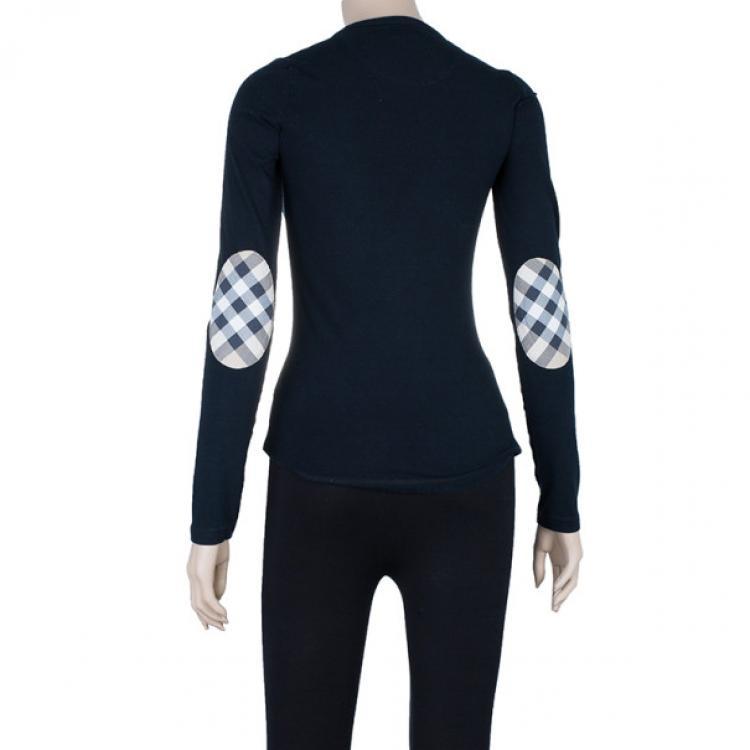Burberry Long Sleeve Black T-Shirt with Novacheck Sleeve Patch XS