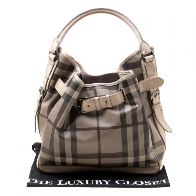 Burberry Beige Smoked Check PVC and Leather Walden Hobo