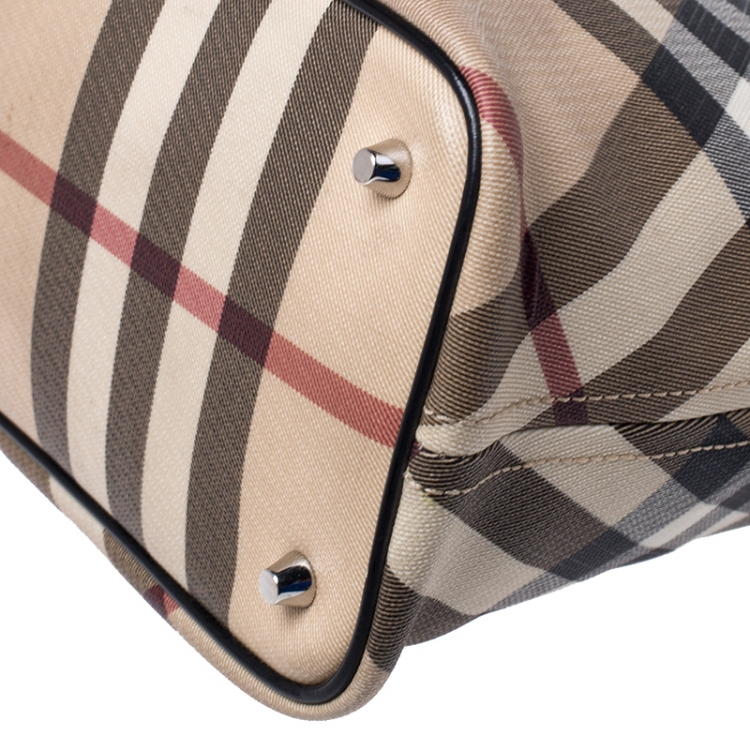 Burberry Beige/Black Supernova Check Coated Canvas and Patent Leather Nickie Tote