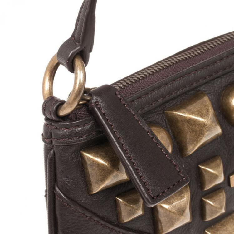 Burberry Brown Leather Gold Studded Small Shoulder Bag