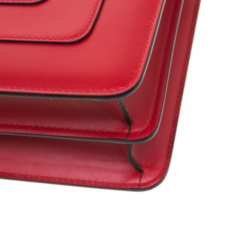 Bvlgari Red Leather Medium Serpenti Forever Shoulder Bag