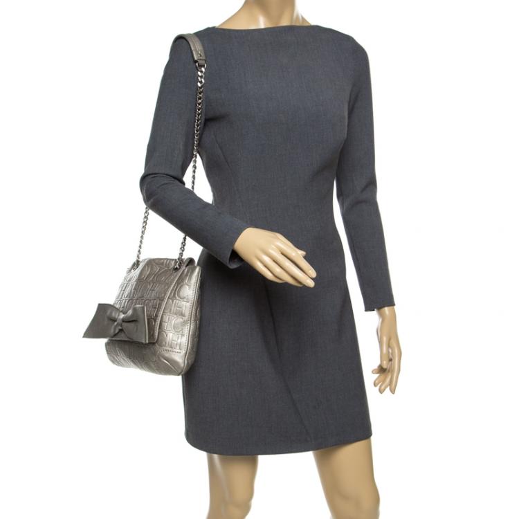 Carolina Herrera Grey Monogram Leather Audrey Shoulder Bag