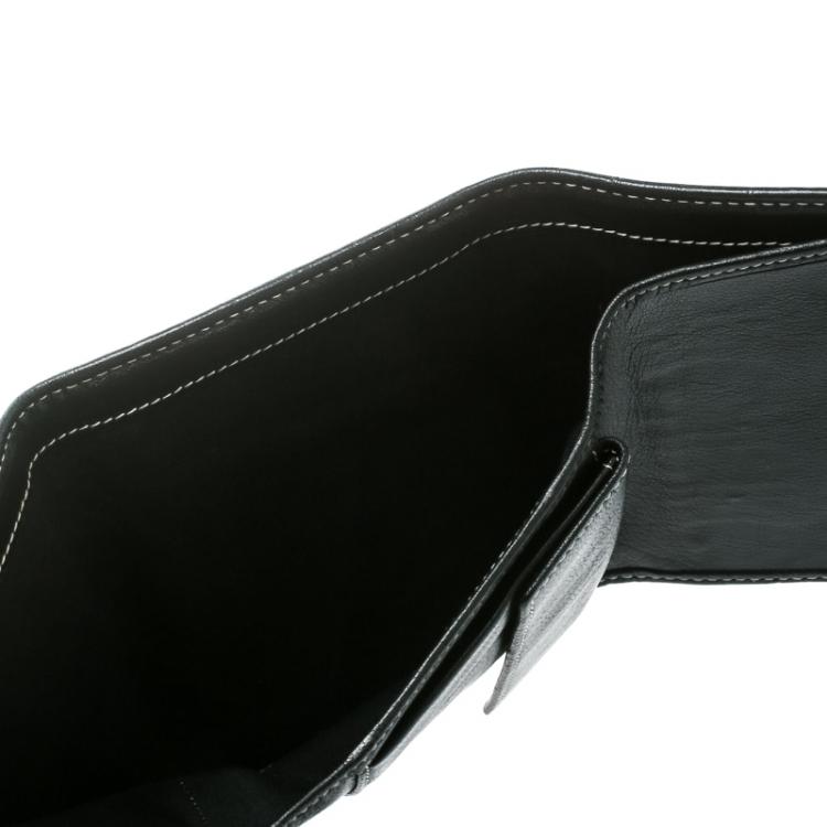 Carolina Herrera Black Monogram Leather Tri Fold Compact Wallet