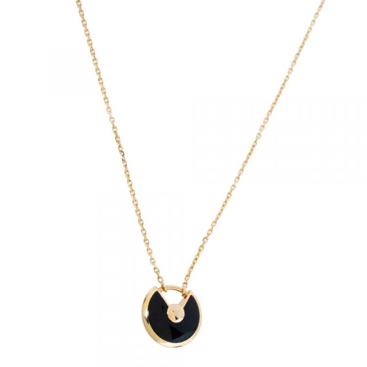 Cartier Amulette de Cartier Diamond Onyx 18K Rose Gold Necklace XS