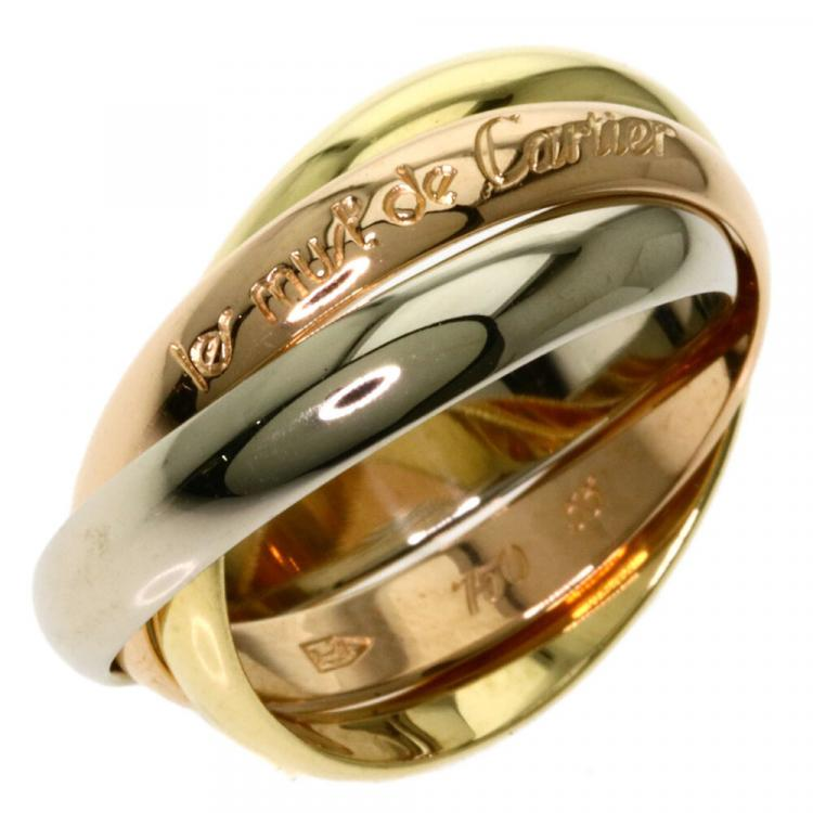 Cartier 18K Yellow Gold, Rose Gold, White Gold Trinity Ring Size 56