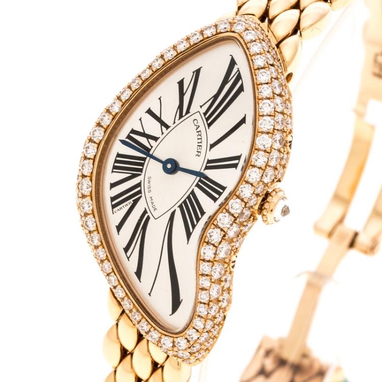 Cartier Silver 18K Rose Gold Diamonds Limited Edition Crash 3618 Women's Wristwatch 25 mm