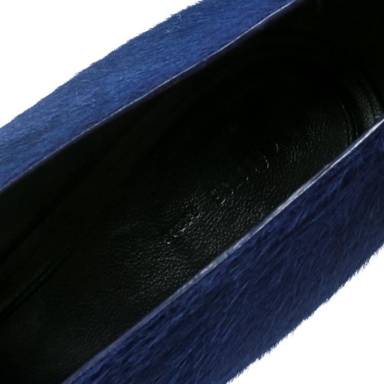 Celine Blue Calf Hair V Neck Pointed Toe Pumps Size 41