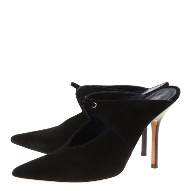 Celine Black Suede Pointed Toe Mules